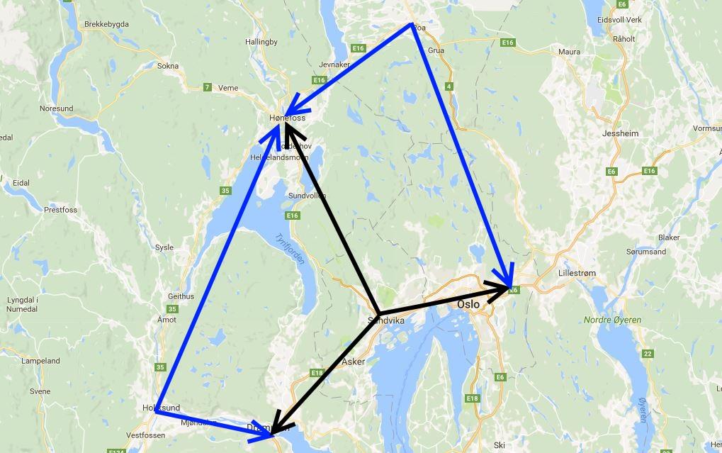 Jernbanealliansen i svart, den reelle godstrafikken med Ringeriksbanen i blått.